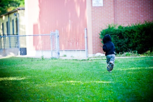 Running towards the playground